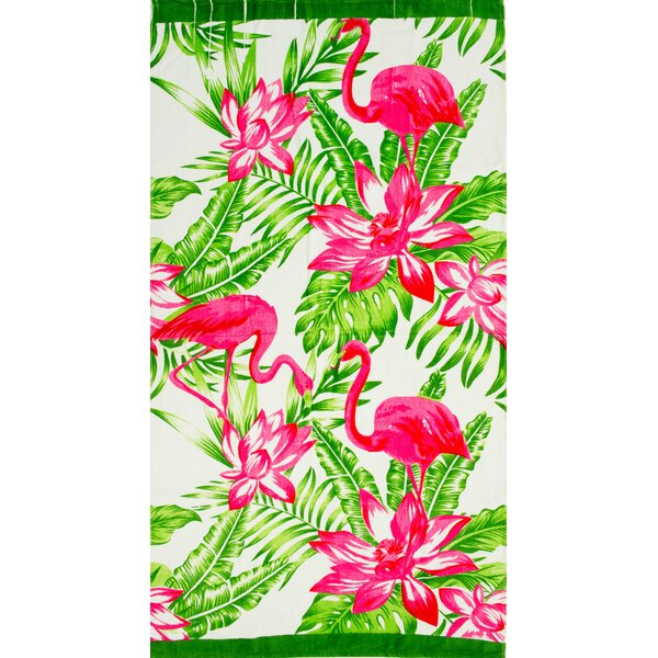 Stanfill Tropical Flamingo 100% Cotton Beach Towel by Bay Isle Home
